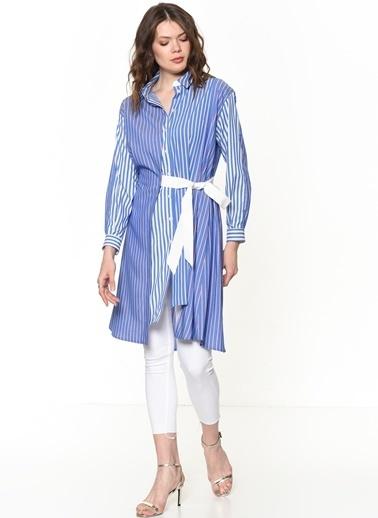 Si Design Çizgili Uzun Gömlek Mavi